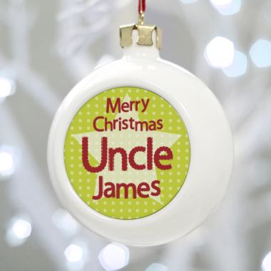 Personalised Uncle Christmas Bauble