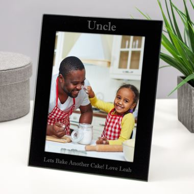 Personalised Uncle Black Glass Photo Frame