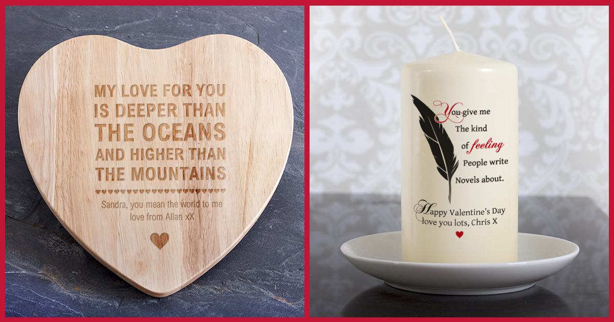 Personalised Heart Shaped Chopping Board & Personalised Candle