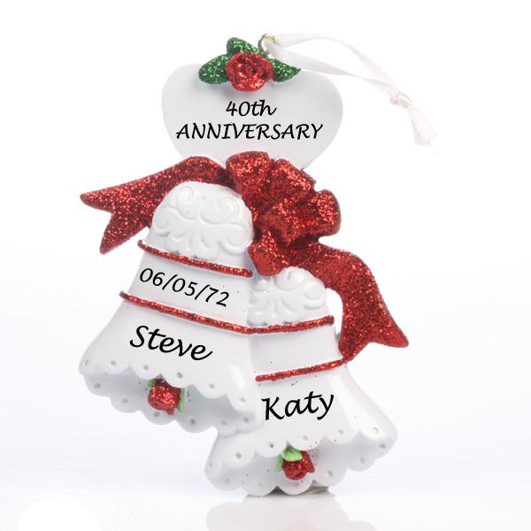 ruby anniversary personalised bells ornament