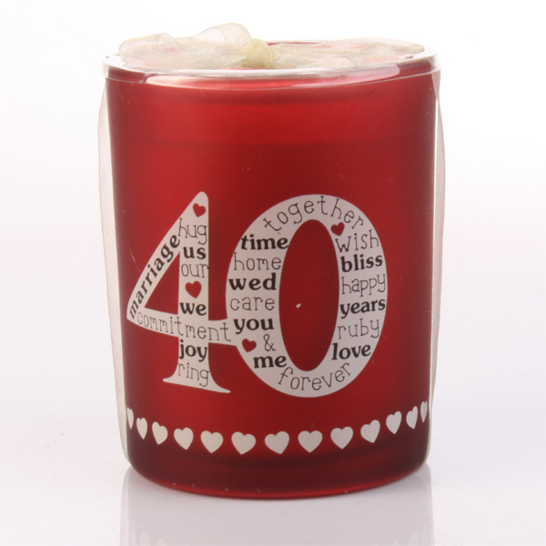 40th Anniversary Candle in Glass Votive - 40th Gifts