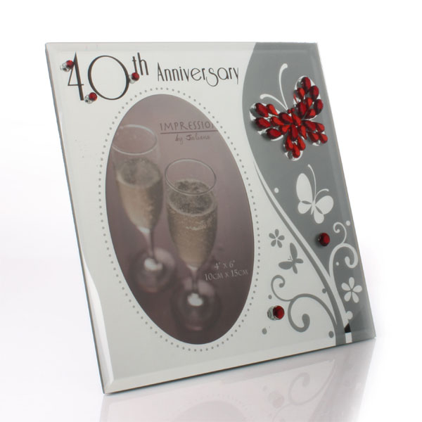 40th Anniversary Glass Photo Frame With Crystals - 40th Gifts