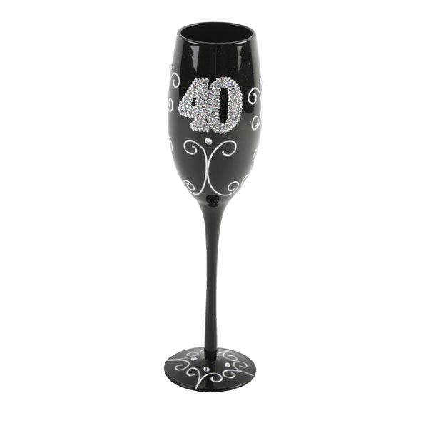 40th Birthday Black Champagne Flute