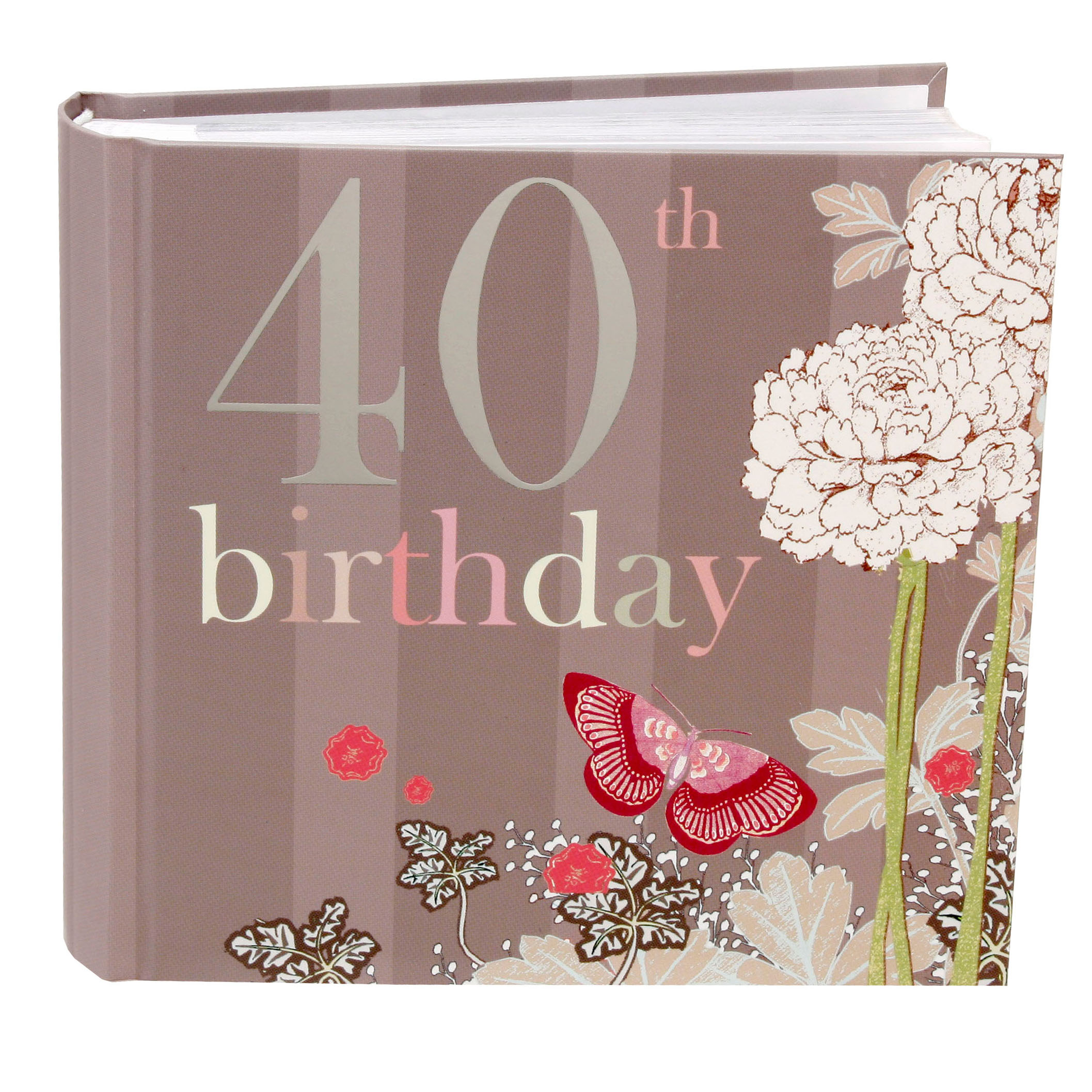 40th Birthday Photo Album - Butterfly Design - 40th Birthday Gifts