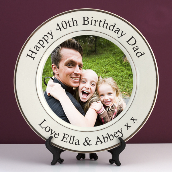 Personalised 40th Birthday Photo Plate - 40th Birthday Gifts