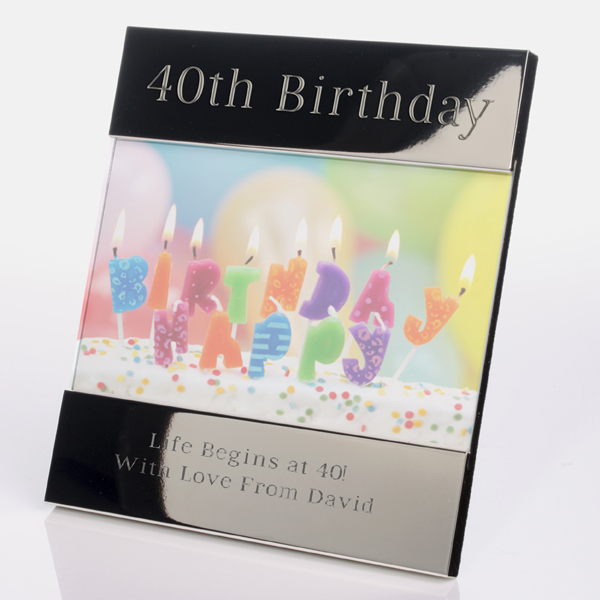 Engraved 40th Birthday Photo Frame