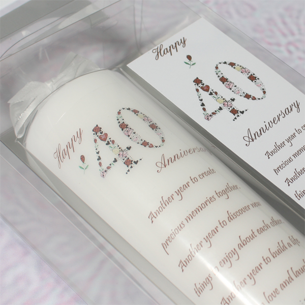 40th Wedding Anniversary Candle - Wedding Anniversary Gifts