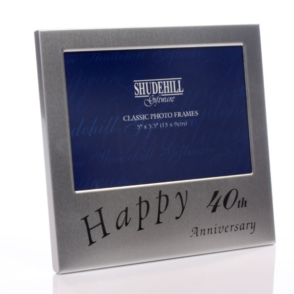 40th Anniversary Satin Silver Photo Frame - 40th Gifts