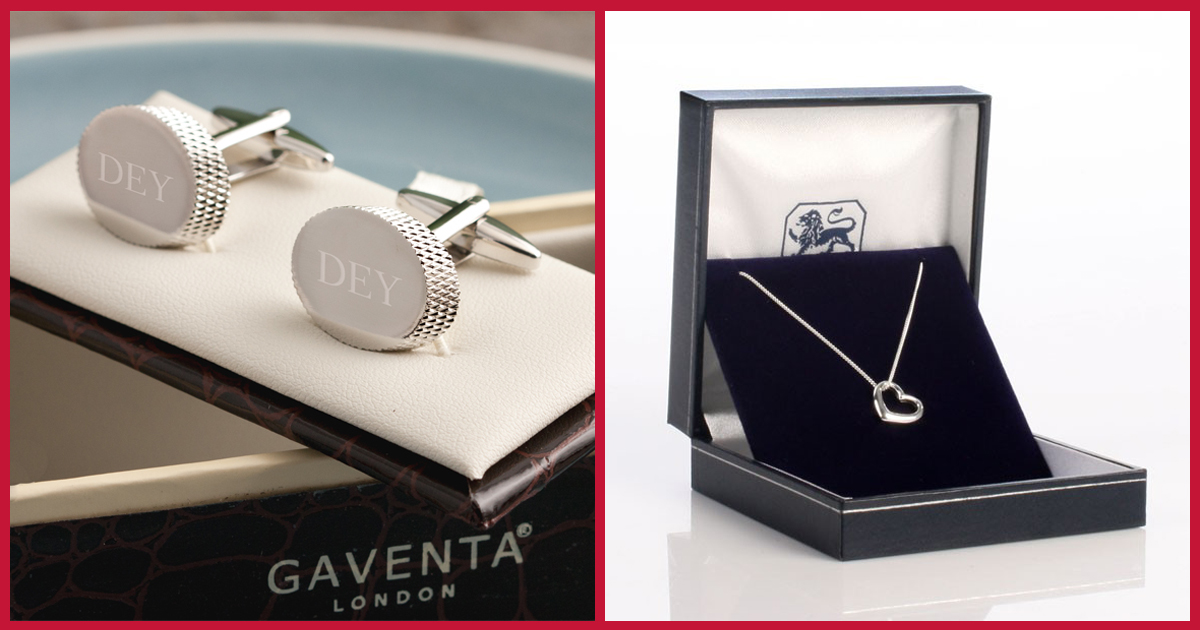Engraved Oval Cufflinks & Heart Necklace
