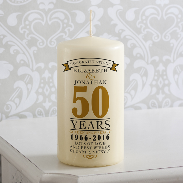 Personalised 50th Anniversary Candle - 50th Gifts