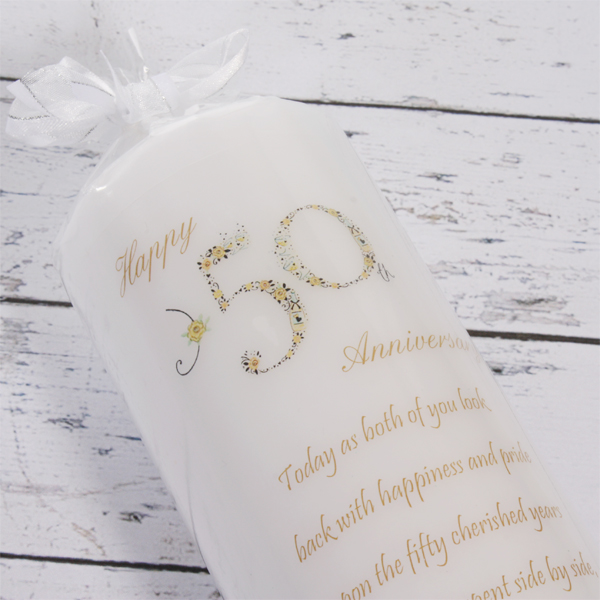 50th Wedding Anniversary Candle - Wedding Anniversary Gifts
