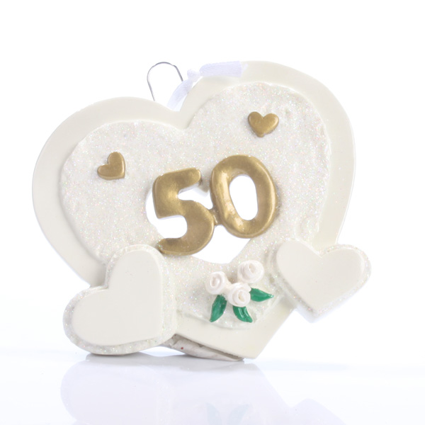 50th Anniversary Personalised Hearts Ornament