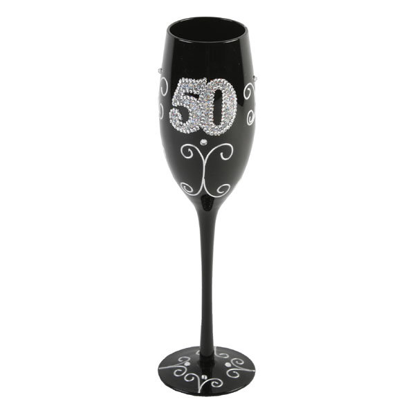 50th Birthday Black Champagne Flute