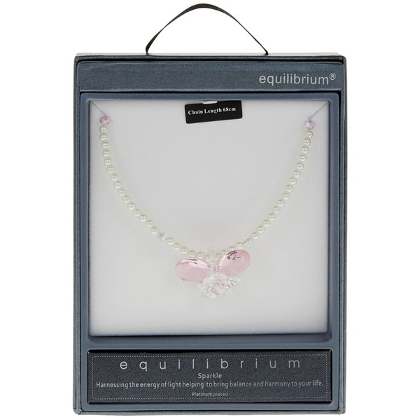 Pearl Crystal Butterfly Necklace in Personalised Box - Box Gifts