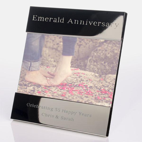 engraved 55th (emerald) anniversary photo frame