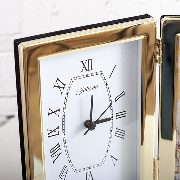 Personalised Brass Plated Frame With Clock | The Gift Experience
