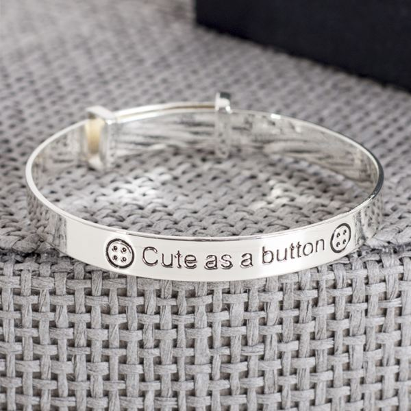 Baby Bangle Gift Box : Cute as a button expandable baby bangle in personalised