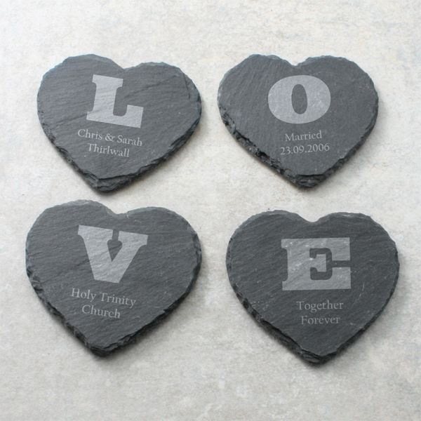 Personalised Set Of 4 Love Heart Slate Coasters The Gift