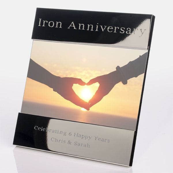 Iron Wedding Anniversary Gift: Engraved 6th (Iron) Anniversary Photo Frame