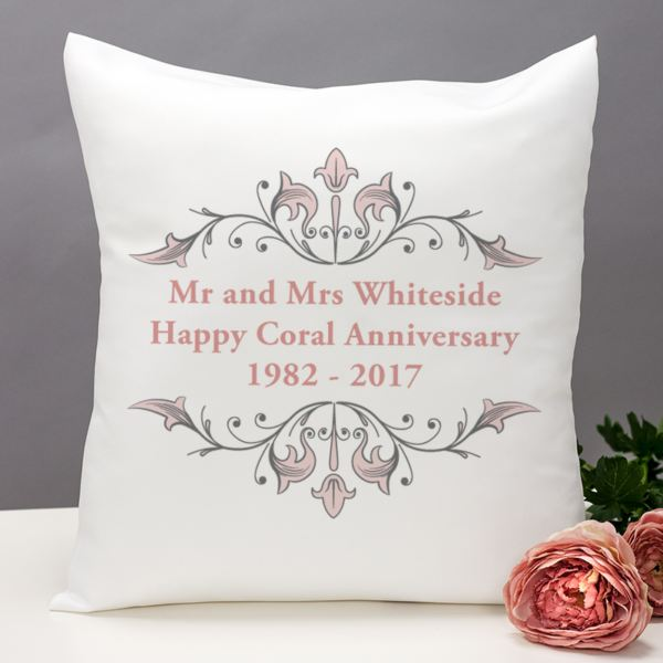 Gift Ideas For 35th Wedding Anniversary: Personalised Coral Anniversary Cushion