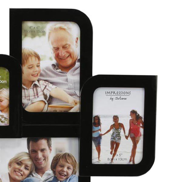 Black Gloss Four Photo Collage Frame | The Gift Experience