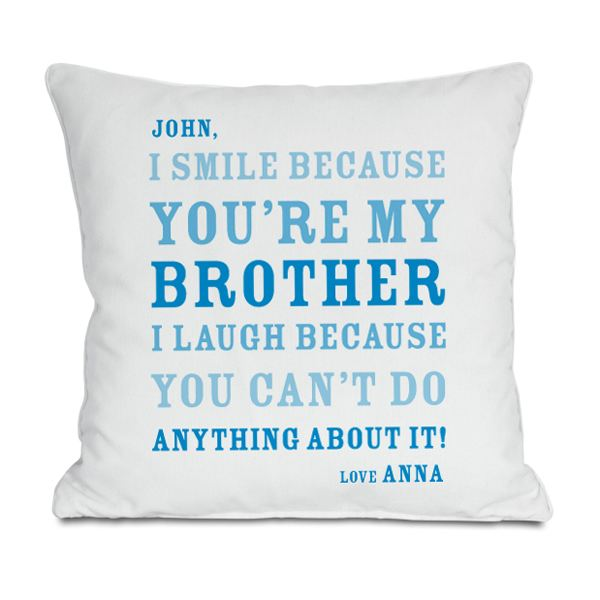 Personalised Brother Smile Cushion | The Gift Experience