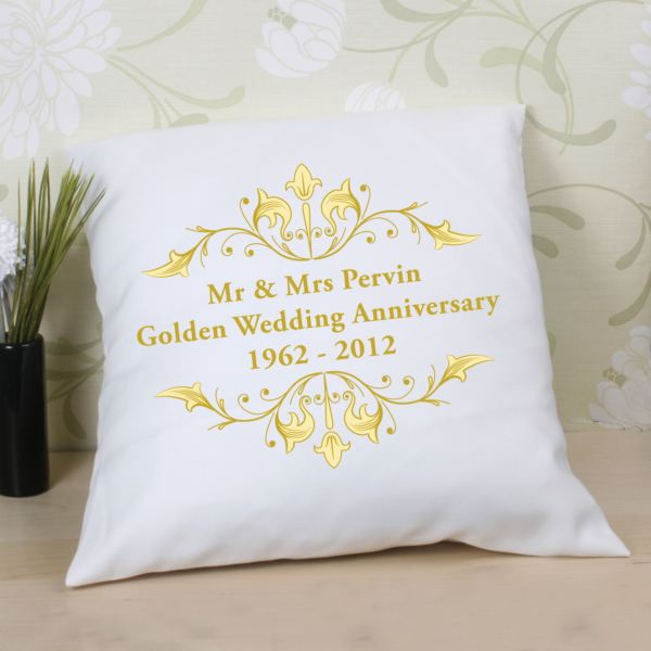 50th Wedding Anniversary Gift Ideas For Parents Uk : Personalised Golden Anniversary Cushion The Gift Experience