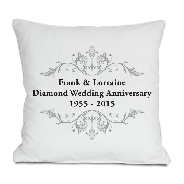 Diamond Wedding Anniversary Gift Ideas Uk : Personalised Diamond Anniversary Cushion - Produced with any names ...