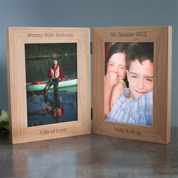 personalised solid oak hinged double photo frame