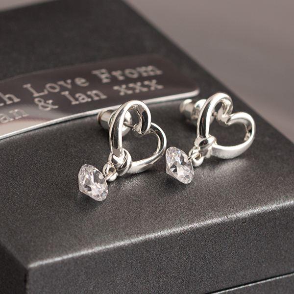 Heart Crystal Drop Earrings in Personalised Gift Box
