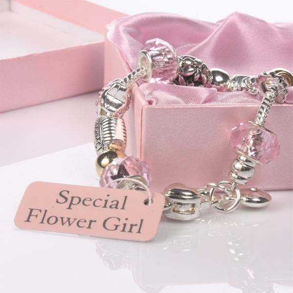 flower pink bead charm bracelet the gift experience