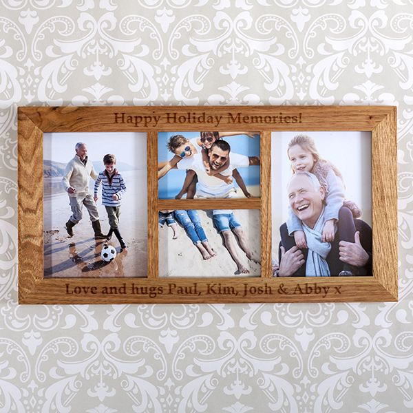 Personalised Multiple Aperture Oak Photo Frame | The Gift Experience