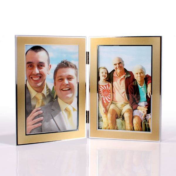 engraved double gold photo frame