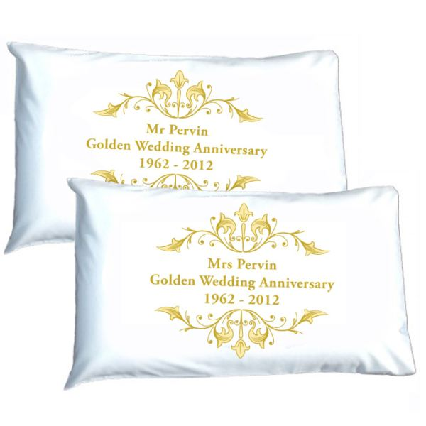 Golden Wedding Anniversary Presents Uk : Personalised Golden Anniversary Pillowcases The Gift Experience