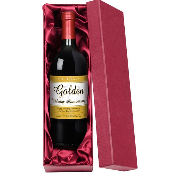 Personalised Golden Wedding Anniversary Red Wine | The ...