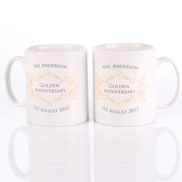 Golden Wedding Gift Experiences : Pair of Personalised Golden Anniversary Mugs The Gift Experience