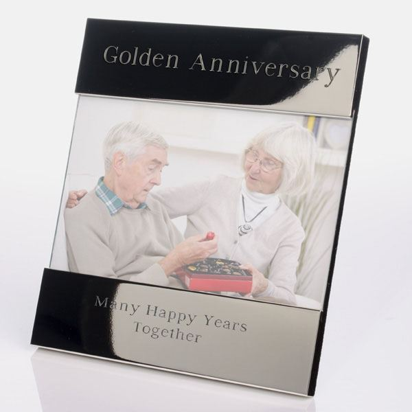 Golden Wedding Gift Experiences : Engraved Golden Anniversary Photo Frame The Gift Experience