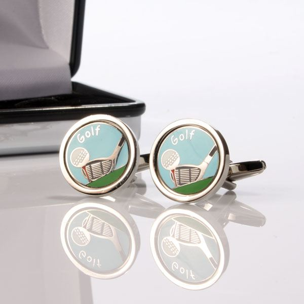 Personalised golf club and ball cufflinks the gift for Golf buflings