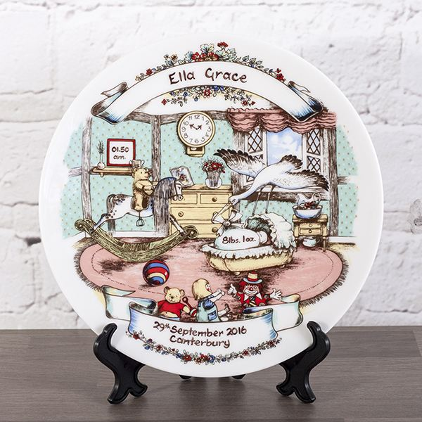 personalised heron china tudor birth plate the gift experience
