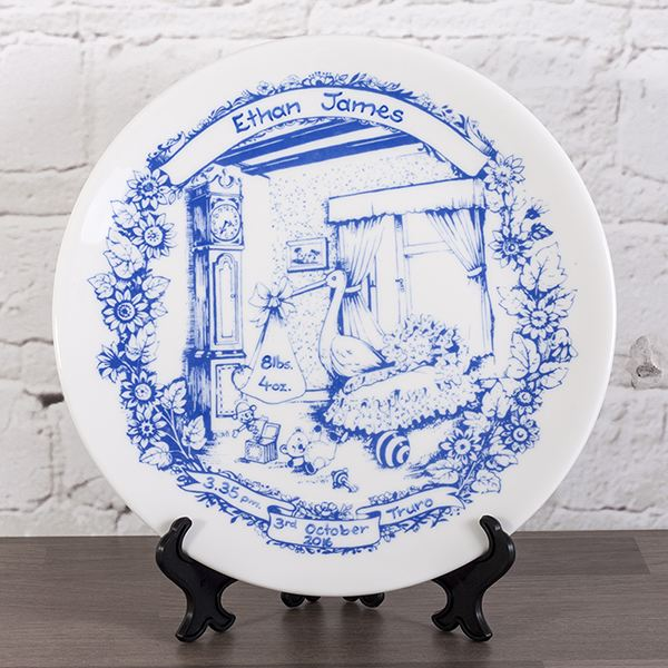personalised heron china staffordshire blue birth plate the gift