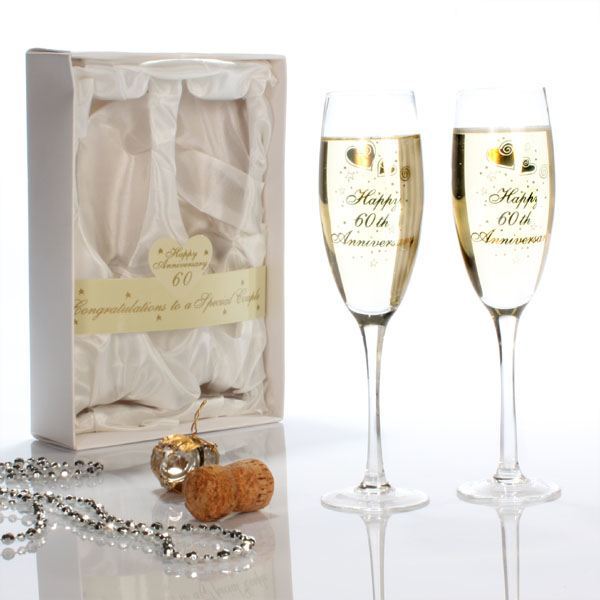 Wedding Gift For 60 Year Old Couple : Happy 60th Anniversary Glasses The Gift Experience