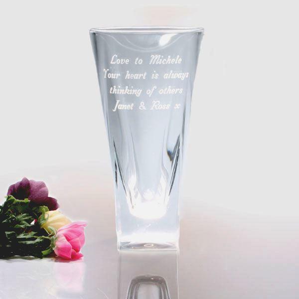 Cm Engraved Tall Glass Vase