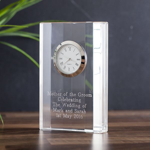 Wedding anniversary gifts the gift experience engraved crystal mantel clock negle Image collections