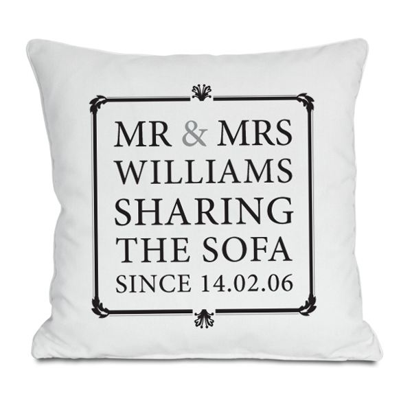 Mr Amp Mrs Sharing The Sofa Personalised Cushion The Gift