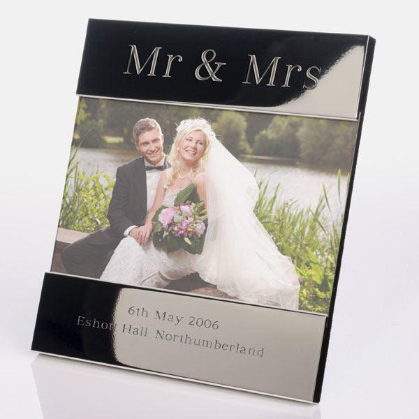 engraved mr mrs photo frame
