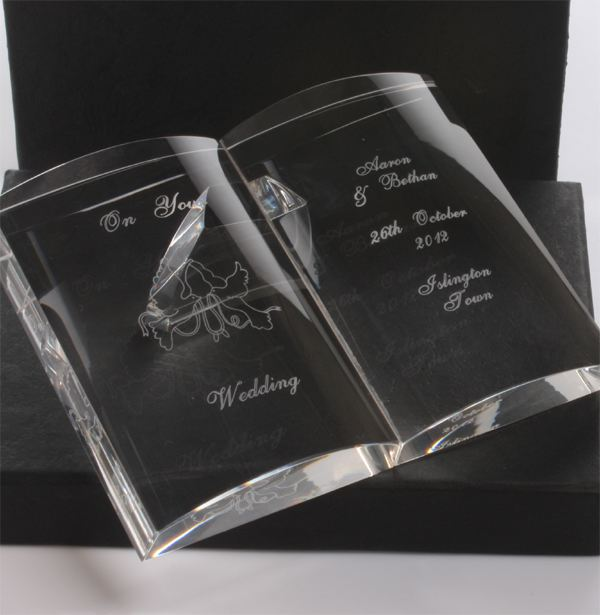 Personalised Crystal Wedding Open Book