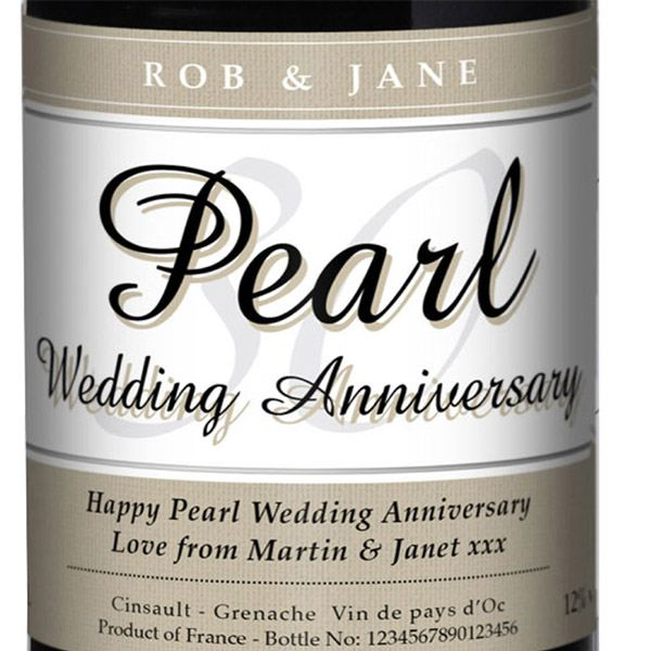 Pearl Wedding Anniversary Gift Ideas Uk : Personalised Pearl Wedding Anniversary Red Wine The Gift Experience