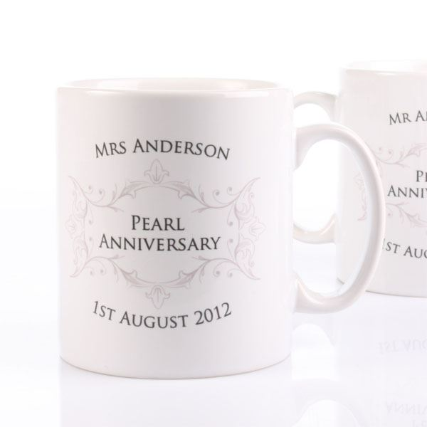 Pearl Wedding Anniversary Gift Ideas Uk : Pair of Personalised Pearl Anniversary Mugs The Gift Experience