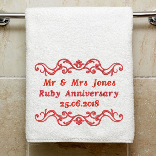 Personalised Embroidered Ruby Anniversary Towel The Gift Experience