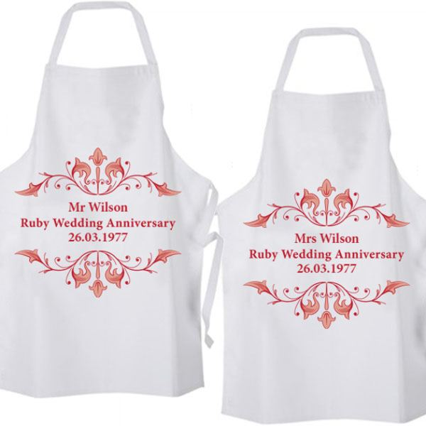 Ruby Wedding Anniversary Gift Experiences : Personalised Ruby Anniversary Aprons The Gift Experience